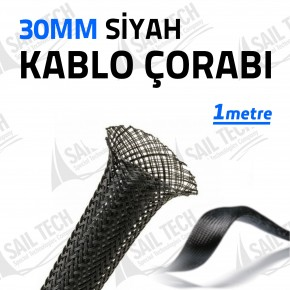 30mm Siyah Kablo Çorabı