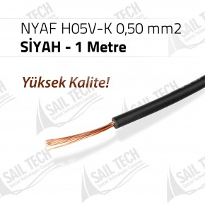 NYAF KABLO H05V-K 0,50 mm2 (Yüksek Kalite) 1 MT SİYAH