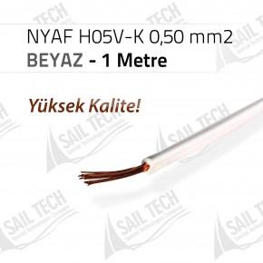 NYAF KABLO H05V-K 0,50 mm2 (Yüksek Kalite) 1 MT BEYAZ