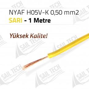 NYAF KABLO H05V-K 0,50 mm2 (Yüksek Kalite) 1 MT SARI