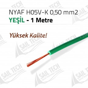 NYAF KABLO H05V-K 0,50 mm2 (Yüksek Kalite) 1 MT YEŞİL