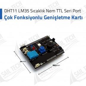 Çok Fonksiyonlu Genişletme Kartı DHT11 LM35 Sıcaklık Nem TTL Seri Port
