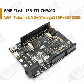 WiFi Tabanlı UNO+ATmega328P+ESP8266 8MB Flash USB-TTL CH340G