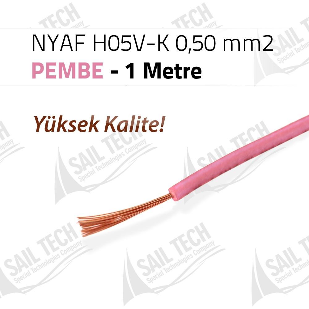 NYAF KABLO H05V-K 0,50 mm2 (Yüksek Kalite) 1 MT PEMBE