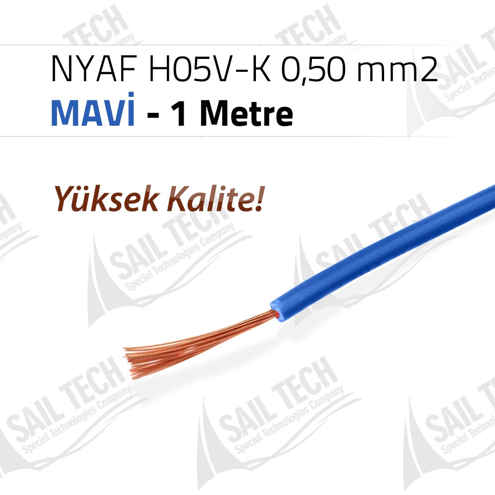 NYAF KABLO H05V-K 0,50 mm2 (Yüksek Kalite) 1 MT MAVİ