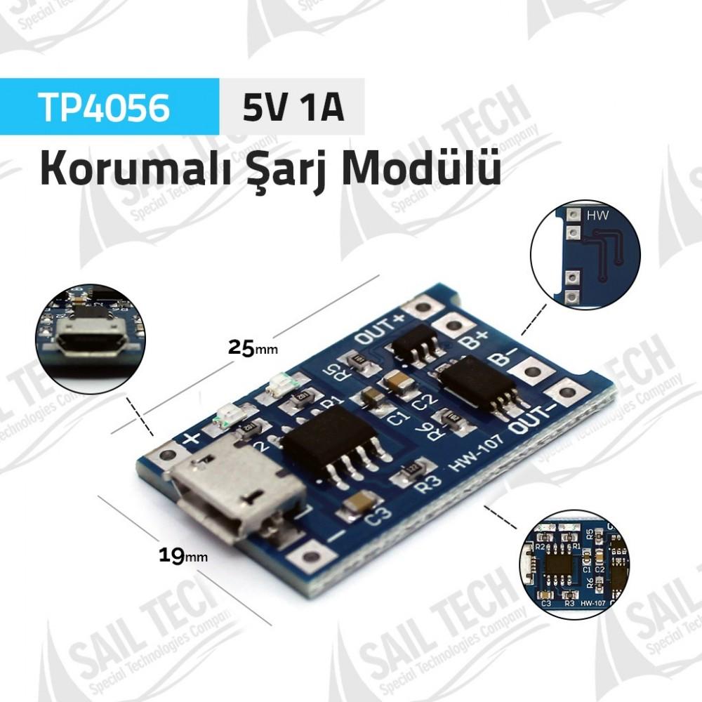 TP4056 5V 1A XD58A Korumalı Lipo Pil Şarj Modülü